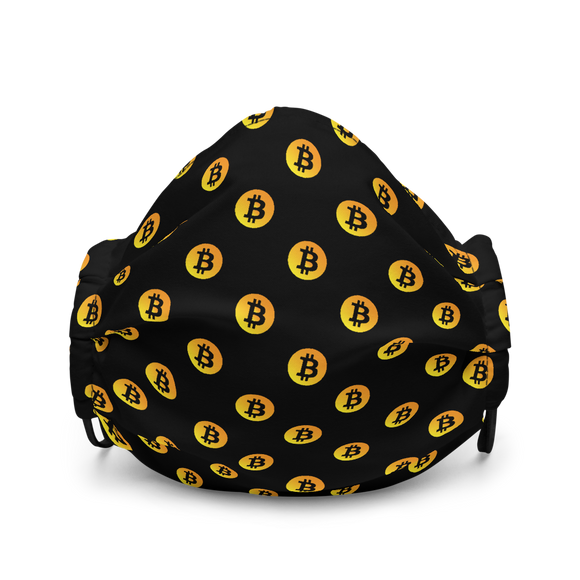Neon Orange Bitcoin Pattern Premium Face Mask: Black