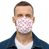 Neon Pink/Orange Bitcoin Pattern Premium Facemask: White
