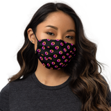 Neon Orange/Pink Bitcoin Pattern Premium Face Mask: Black