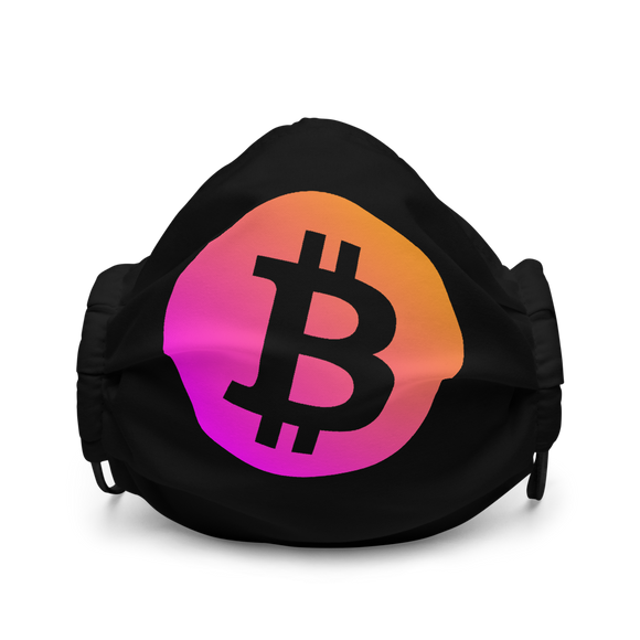 Neon Orange/Pink Bitcoin Logo Premium Face Mask: Black