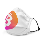 Neon Orange/Pink Bitcoin Logo Premium Face Mask: White