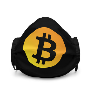 Neon Orange Bitcoin Logo Premium Face Mask: Black