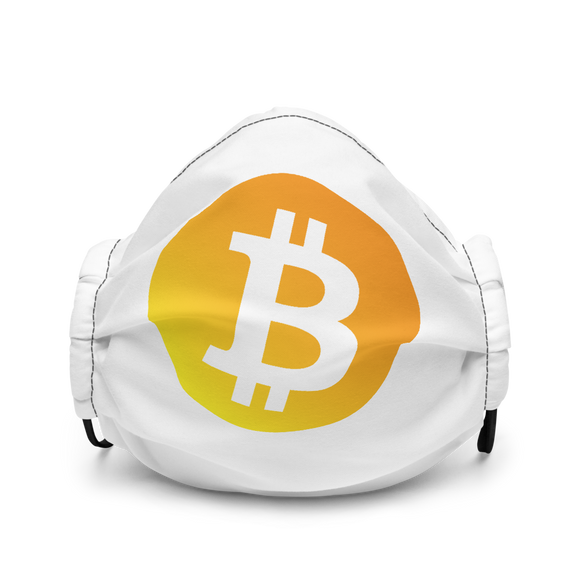 Neon Orange Bitcoin Logo Premium Face Mask: White