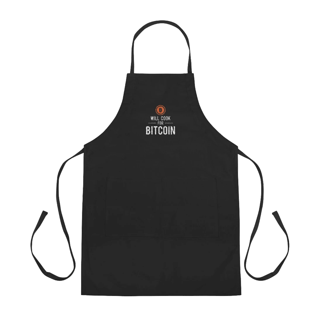"""Embroidered """"Will Cook for Bitcoin"""" Apron"""