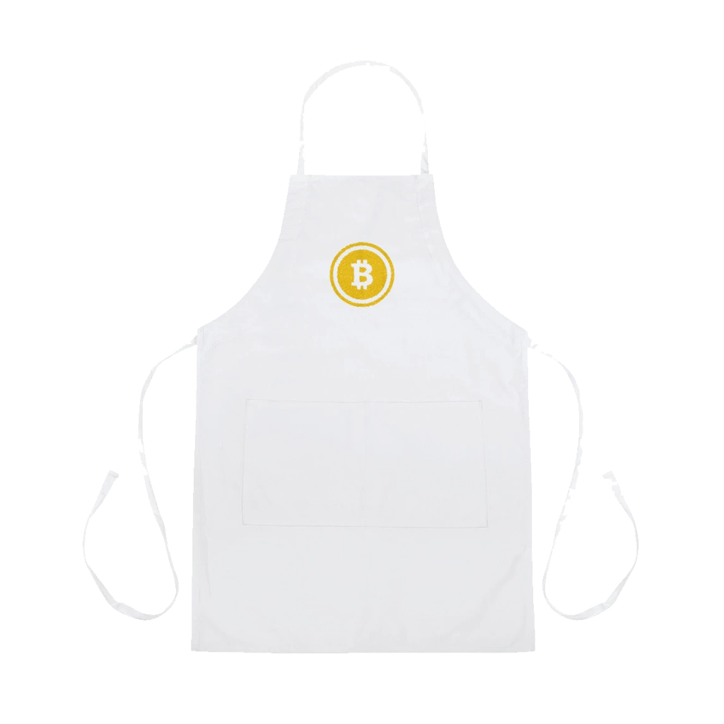 Golden Bitcoin Embroidered Apron