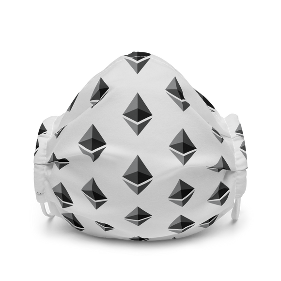 Ethereum ETH Pattern Premium Face Mask: Light Grey