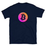 Bitcoin BTC Short-Sleeve T-Shirt: Neon Orange/Pink Logo