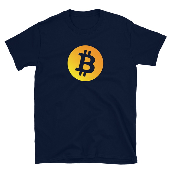 Bitcoin BTC Short-Sleeve T-Shirt: Neon Orange Logo