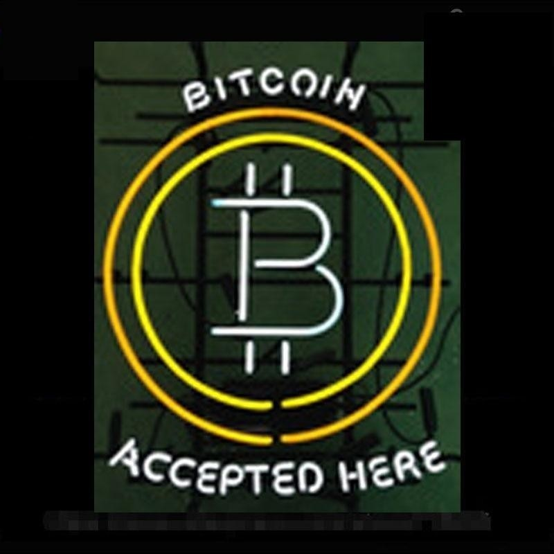 """""""Bitcoin Accepted Here"""" Handcrafted Glass Tube Neon Sign"""