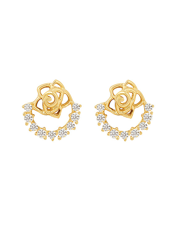 60444cc56 Yellow Gold Rose Ear Tops – Zilver Jewellery