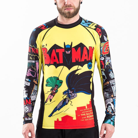 {{product.type}} - ADULTS Batman Number 1 Comic Rash Guard - Long Sleeve - Pancho Michael {{ shop.address.country }}