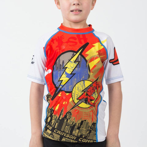 {{product.type}} - KIDS The Flash Crimson Comet Rash Guard - Short Sleeve - Pancho Michael {{ shop.address.country }}