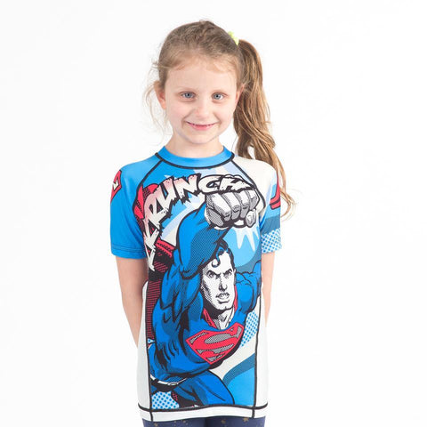 {{product.type}} - Superman KRUNCH! Rash Guard - Short Sleeve - Pancho Michael {{ shop.address.country }}