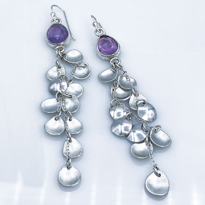 Amethyst Sterling Silver Petal Drop Earrings Laying Flat