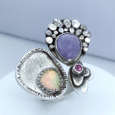 Amethyst Welo Opal Tourmaline Sterling Silver Spring Meadow Ring