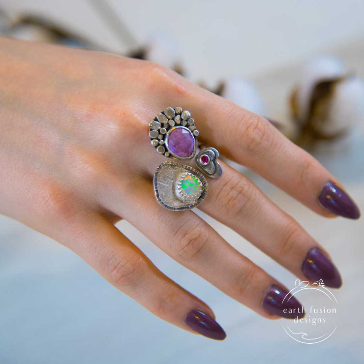 Amethyst Welo Opal Tourmaline Sterling Silver Spring Meadow Ring on Model's hand