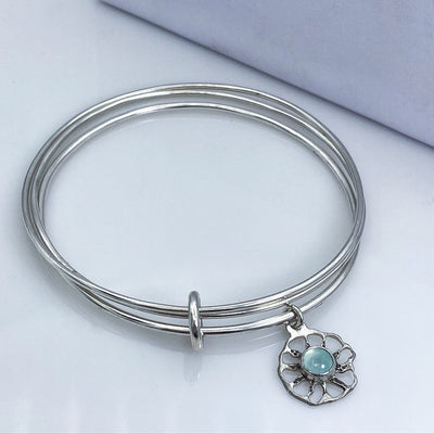 Aqua Chalcedony Sterling Silver Ammonite Charm Triple Bangle Bracelet