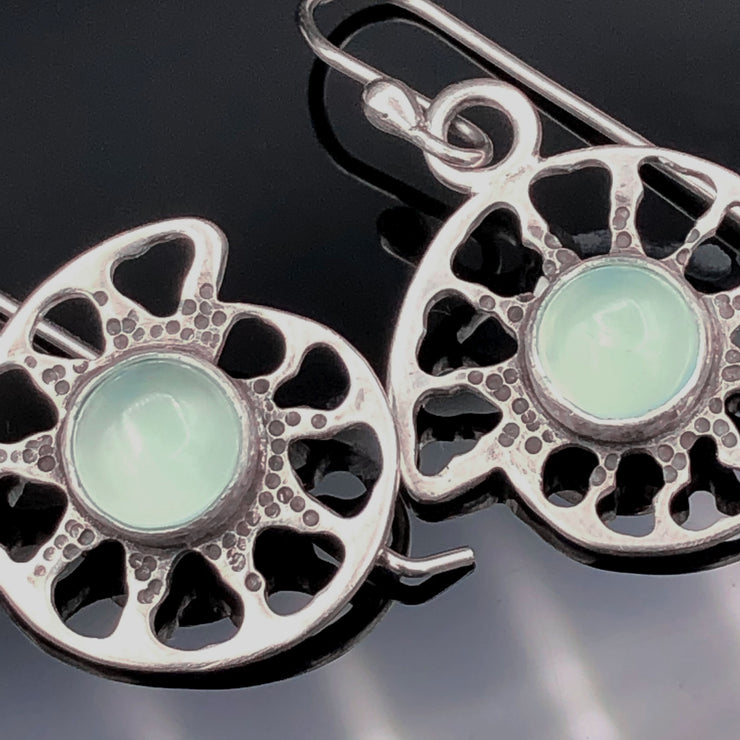 Aqua Chalcedony Sterling Silver Ammonite Earrings Alternate View