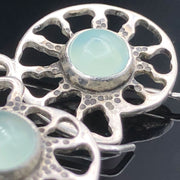 Aqua Chalcedony Sterling Silver Ammonite Earrings Closeup View