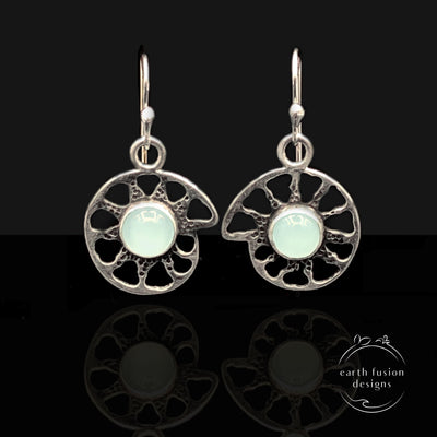 Aqua Chalcedony Sterling Silver Ammonite Earrings