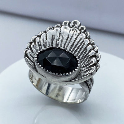 Black Onyx Rose Cut Sterling Silver Double Shell Ring