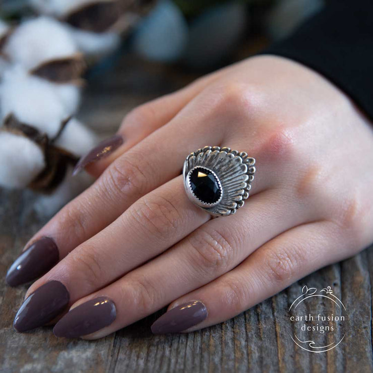 Black Onyx Rose Cut Sterling Silver Double Shell Ring on Model