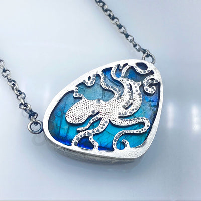 Blue Labradorite Sterling Silver Octopus Reversible Necklace Reverse View