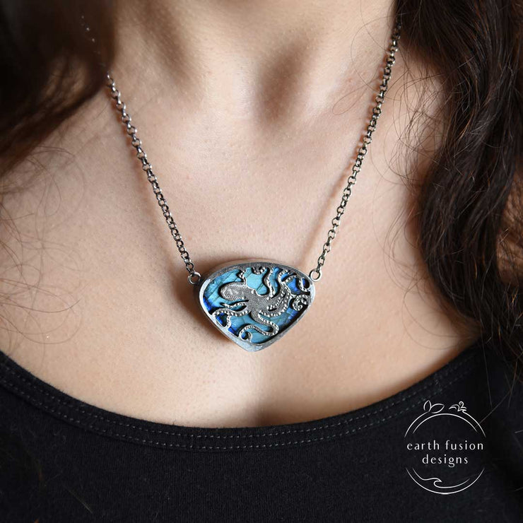 Blue Labradorite Sterling Silver Octopus Reversible Necklace Reverse View on model