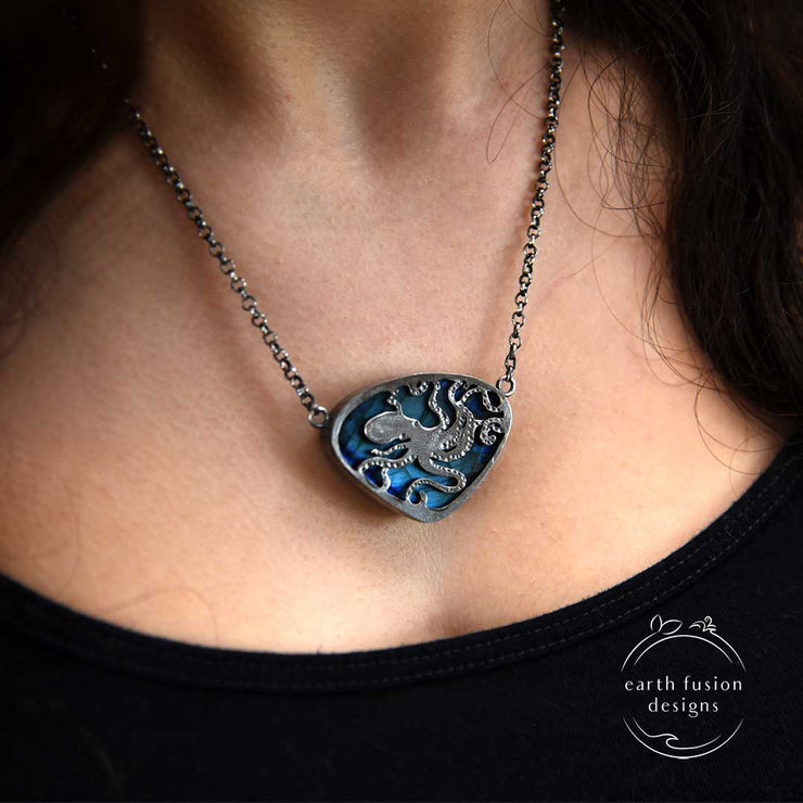 Blue Labradorite Sterling Silver Octopus Reversible Necklace Reverse View alternate view on model