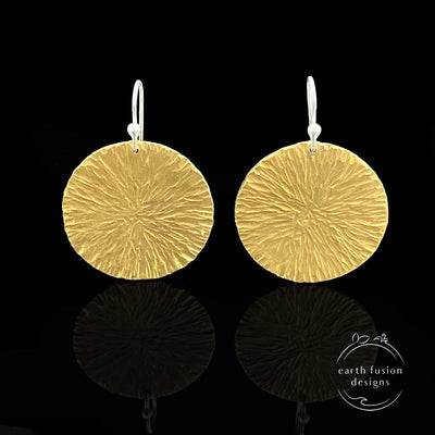 Brass Radial Textured Disc Drop Earrings