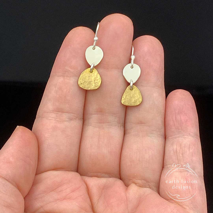 Brass Sterling Silver Two Pebble Drop Earrings Size Comparison to hand