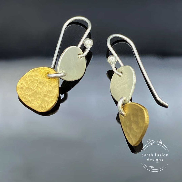 Brass Sterling Silver Two Pebble Drop Earrings Showing Texture