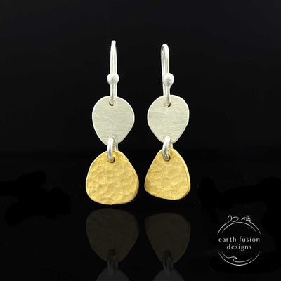 Brass Sterling Silver Two Pebble Drop Earrings