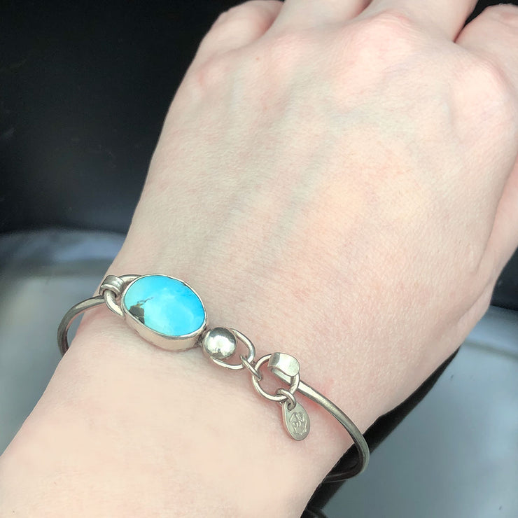 Fox Turquoise and Sterling Silver Bracelet on Wrist