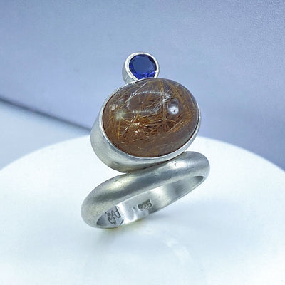 Golden Rutilated Quartz Iolite Sterling Silver Floating Ring