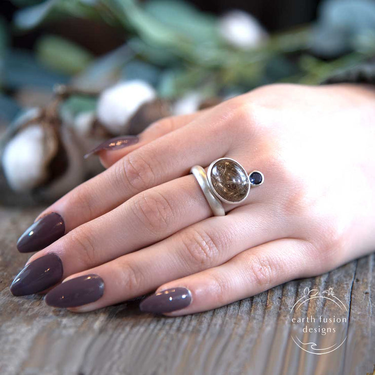 Golden Rutilated Quartz Iolite Sterling Silver Floating Ring on Model's Hand