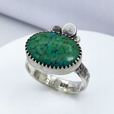 Green Hubei Turquoise Sterling Silver Three Pebble Ring