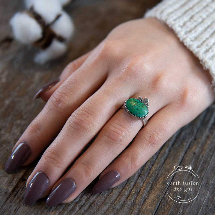 Green Hubei Turquoise Sterling Silver Three Pebble Ring on Model's Hand