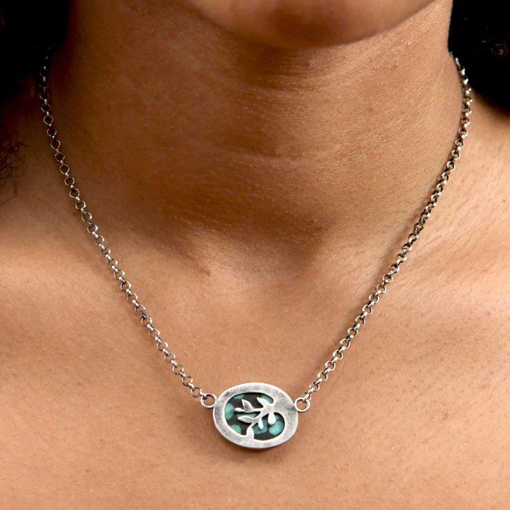 Green Hubei Turquoise Sterling Silver Reversible Vine Necklace Reverse Side View on Model