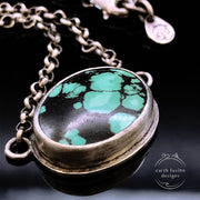 Green Hubei Turquoise Sterling Silver Reversible Vine Necklace Closeup View of Turquoise