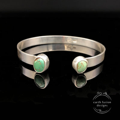 Green Turquoise Sterling Silver Reverse Cuff