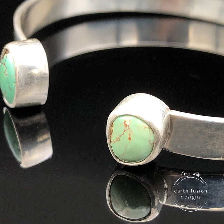 Green Turquoise Sterling Silver Reverse Cuff Closeup