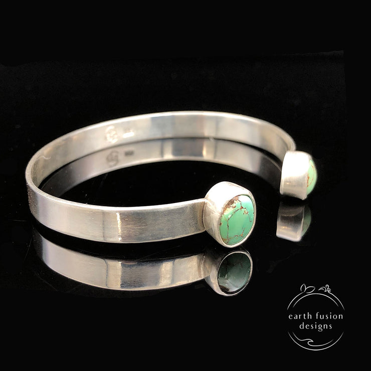 Green Turquoise Sterling Silver Reverse Cuff Side View