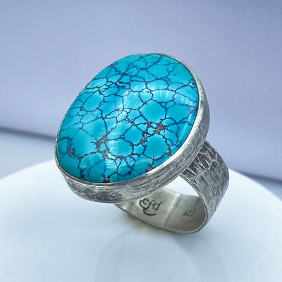 Hubei Turquoise Sterling Silver Statement Ring
