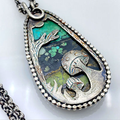 Hubei Turquoise Sterling Silver Woodland Reversible Necklace Back Closeup