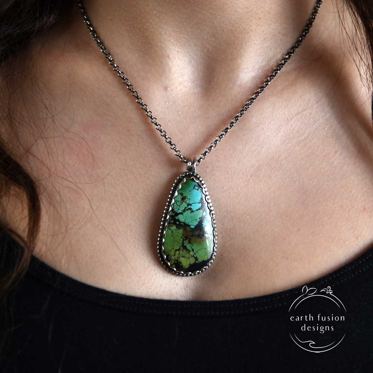 Hubei Turquoise Sterling Silver Woodland Reversible Necklace on Model