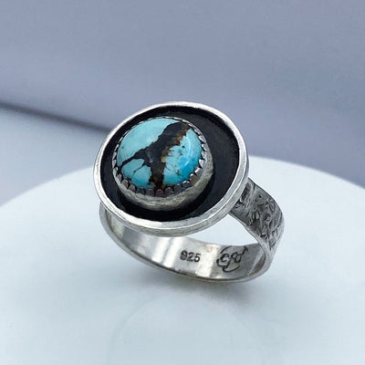 Hubei Turquoise Sterling Silver Shadow Ring