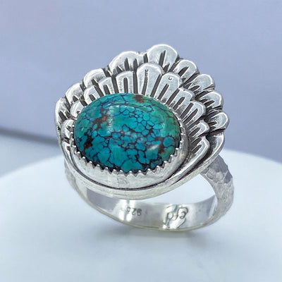 Hubei Turquoise Sterling Silver Double Shell Ring