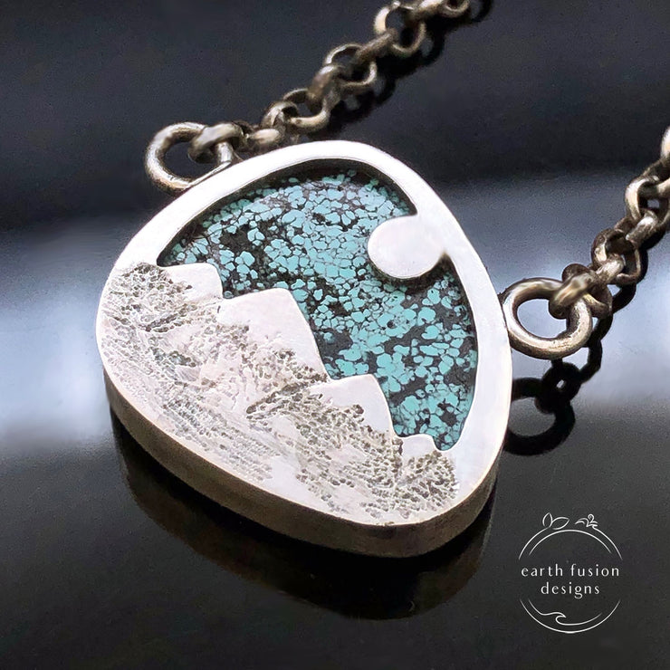 Hubei Turquoise Sterling Silver Mountain View Reversible Necklace Reverse View of Mountains and Moon