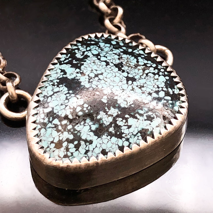 Hubei Turquoise Sterling Silver Mountain View Reversible Necklace Closeup View of Turquoise